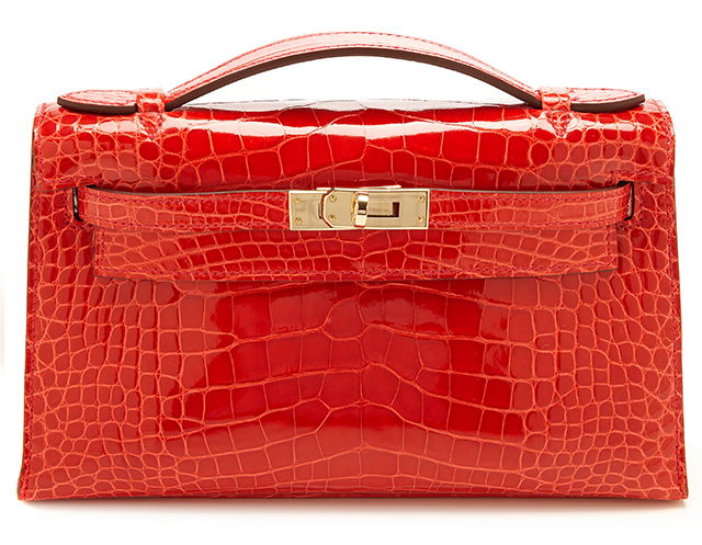 Hermes Shiny Geranium Alligator Kelly Pochette