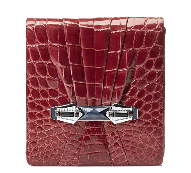 Judith Leiber Red Crocodile Clutch