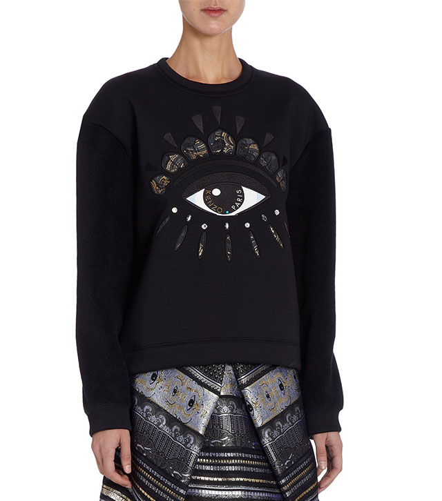 Kenzo Fleece Sleeve Embroidered Eye Front Sweatshirt