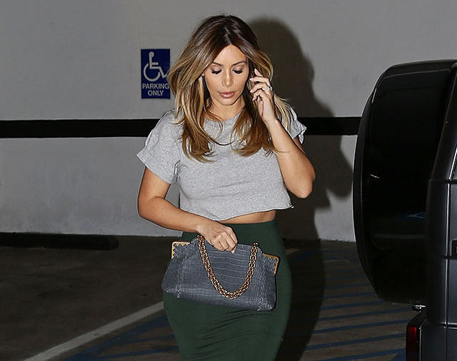 Kim Kardashian Bottega Veneta Crocodile Shoulder Bag