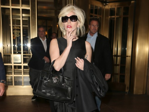 Lady Gaga carries a black Versace bag in NYC (5)