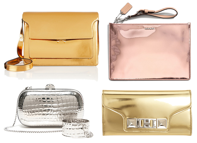 Metallic Mirror Leather Handbags