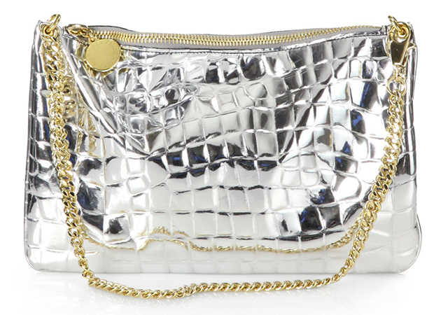 Stella McCartney Crocodile Stamped Metallic Clutch