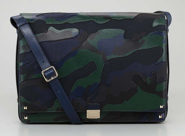 Valentino Camo Leather Messenger Bag