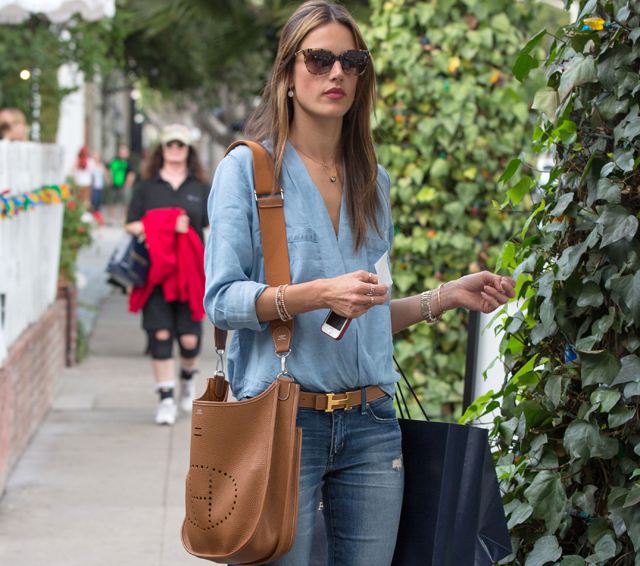 Alessandra Ambrosio carries a tan Hermes bag in LA (1)