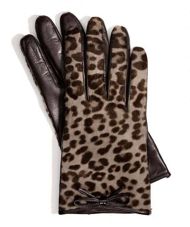 Coach Ocelot Haircalf Bow Glove