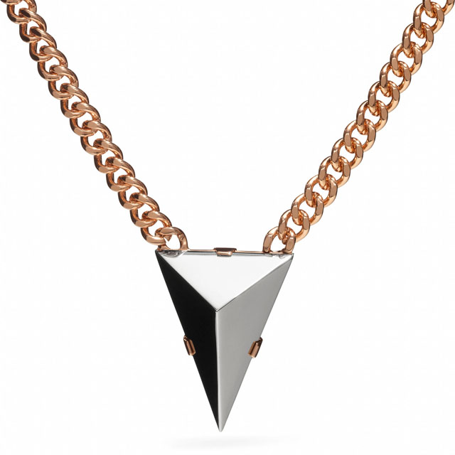 Coach Short Pyramid Spike Necklace