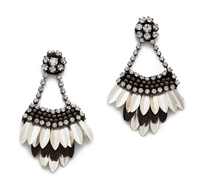 Deepa Gurnani Crystal Petal Earrings
