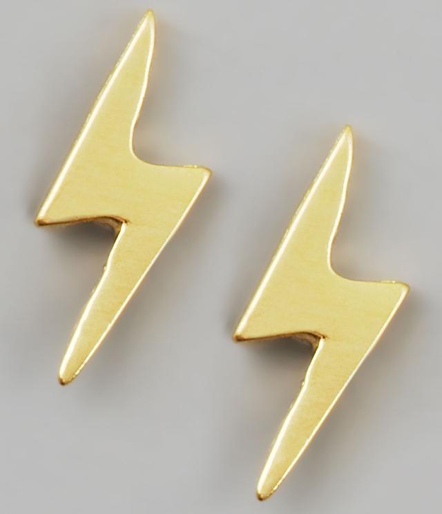 Dogeared Gold Lightning Earrings