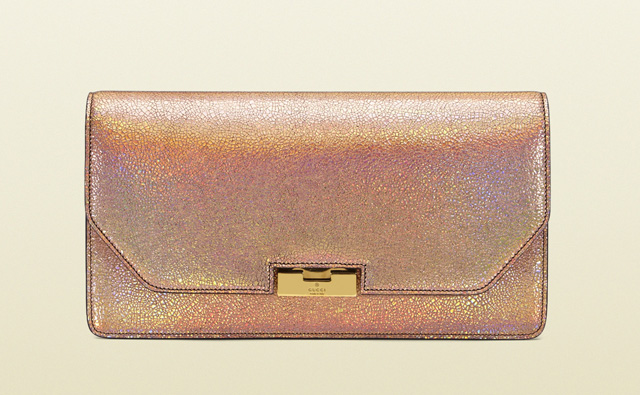 Gucci 58 Crackled Metallic Leather Clutch