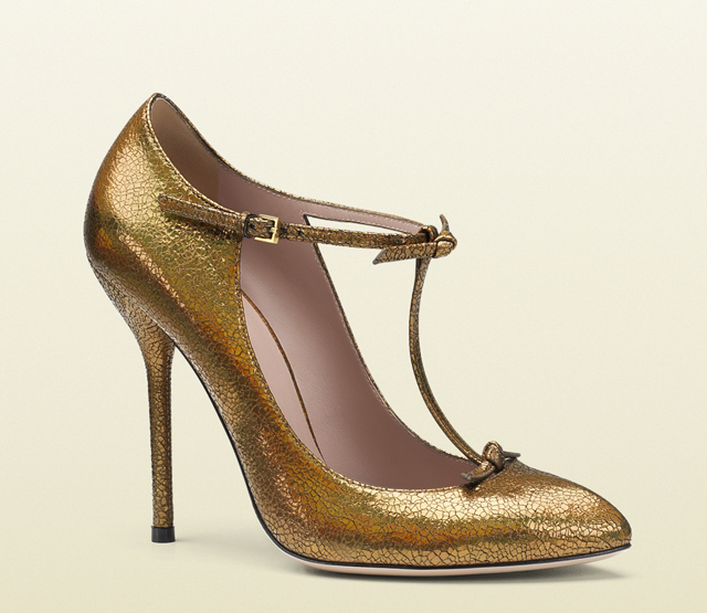 Gucci Cracked Metallic Leather T-Strap Pumps