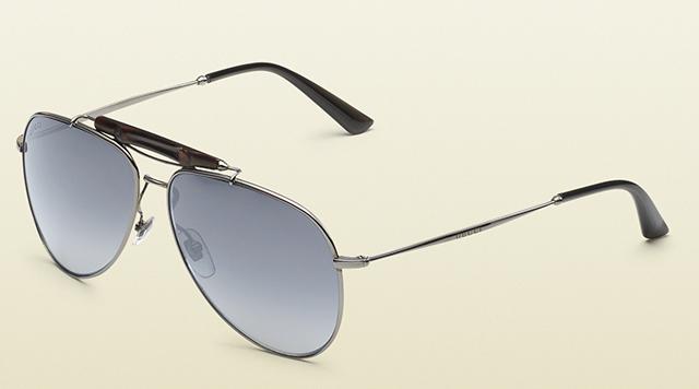7966834768389 Gucci Dark Ruthenium Aviator Sunglasses with Bamboo - PurseBlog