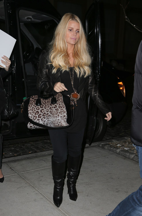 Jessica Simpson carries a leopard Givenchy bag in NYC (2)