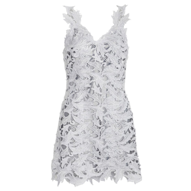 M & GUIA V NECK SLEEVELESS LACE DRESS- SILVER
