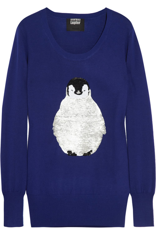 Markus Lupfer Penguin Sequined Merino Wool Sweater