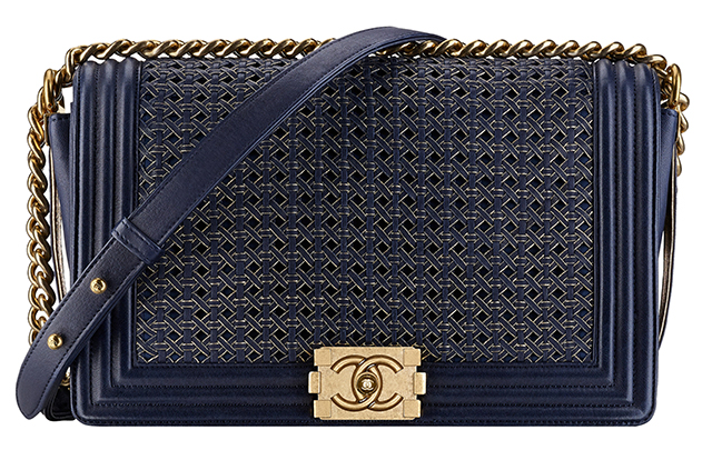 Chanel Boy Braided Flap Bag Navy