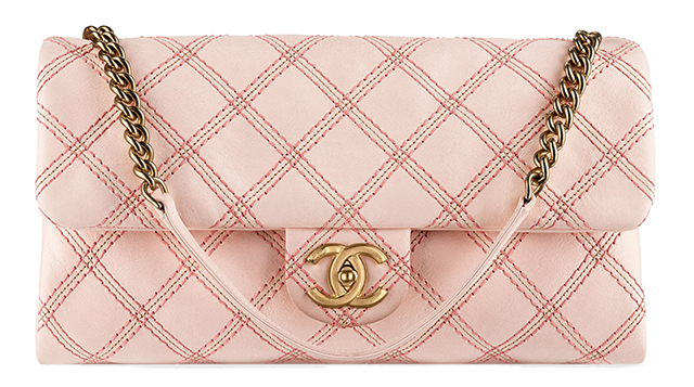 Chanel Metallic Stitch Flap Bag Pink