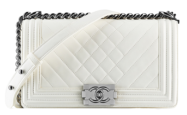 Chanel Patent Boy Bag White