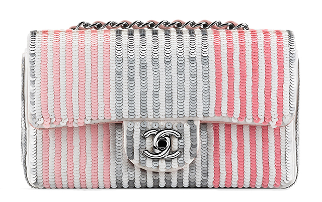 Chanel Small Stripe Sequined Flap Bag