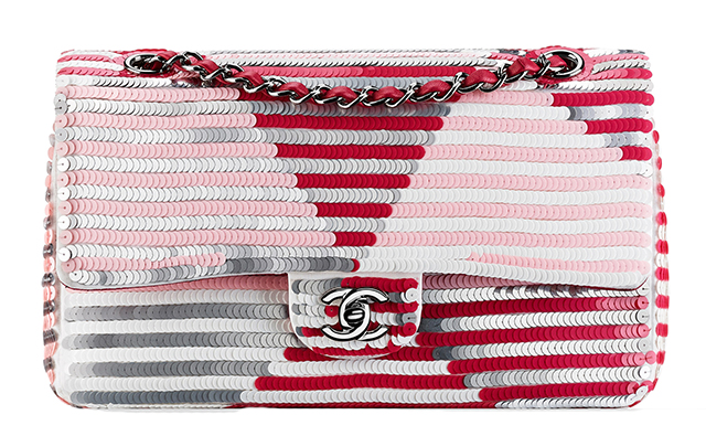 Chanel Striped Sequin Flap Bag