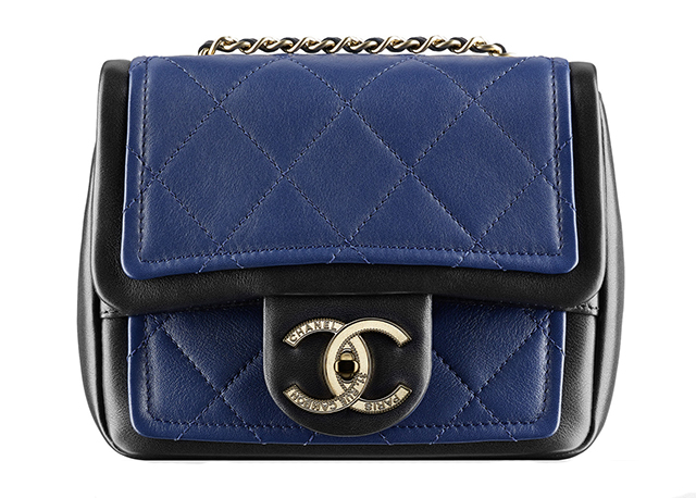 Chanel Two Tone Small Flap Bag Blue