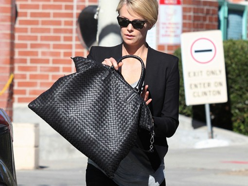 Charlize Theron Bottega Veneta Intrecciato Nappa Convertible Bag
