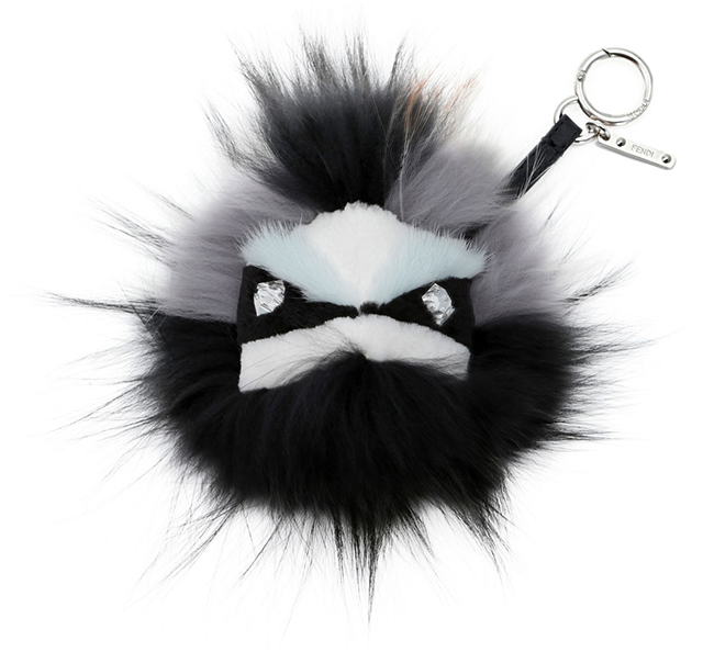 Fendi Crystal Eyed Fur Monster Bag Charm Mint