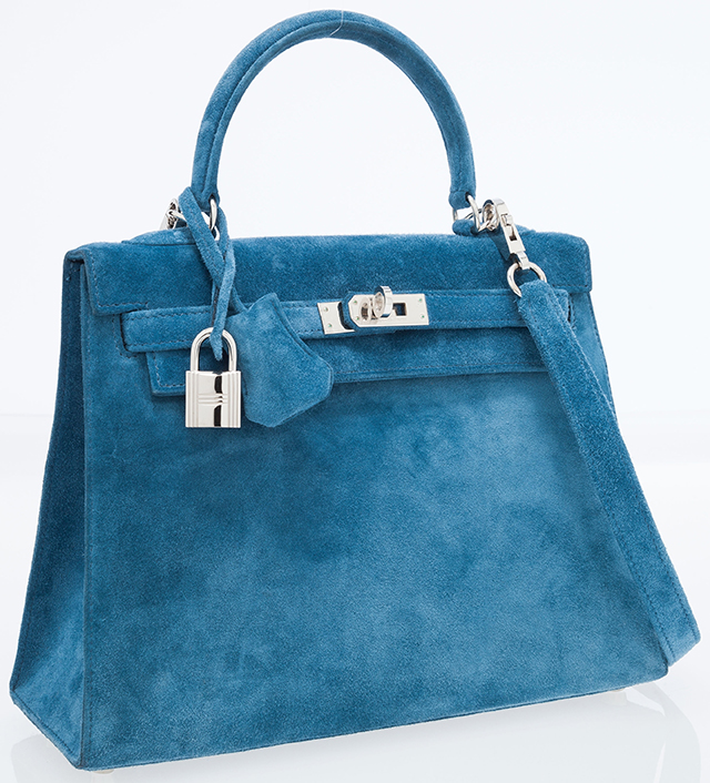 Hermes Blue Suede Sellier Kelly Bag