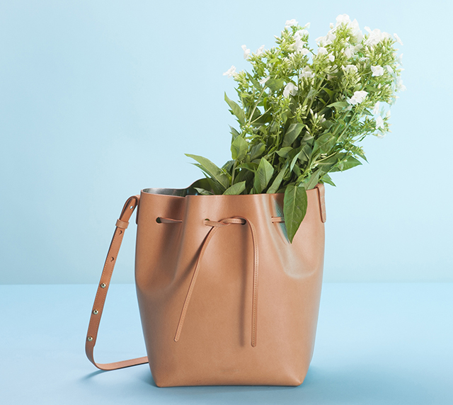 Mansur Gavriel Bucket Bag Cammello Silver Flowers