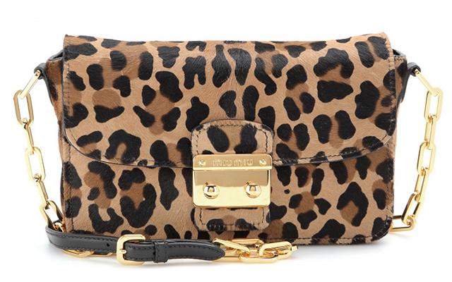 Miu Miu Calf Hair Leopard Shoulder Bag