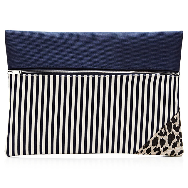VANITIES Striped and Printed Zip Clutch