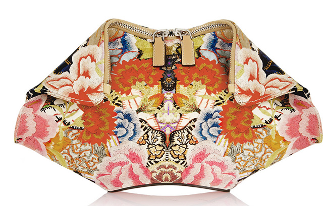 Alexander McQueen DeManta Printed Satin Clutch