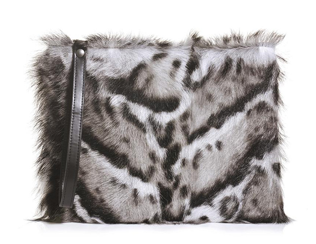 Christopher Kane Jaguar Print Fur Clutch