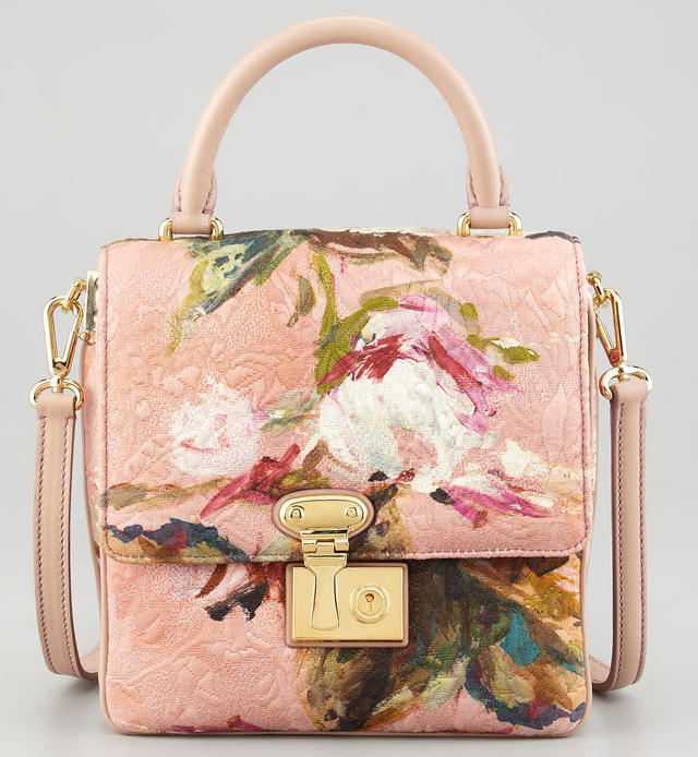Dolce and Gabbana Floral Tapestry Lock Handbag