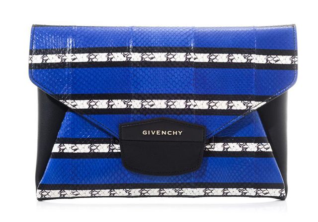 Givenchy Antigona Striped Snakeskin Clutch