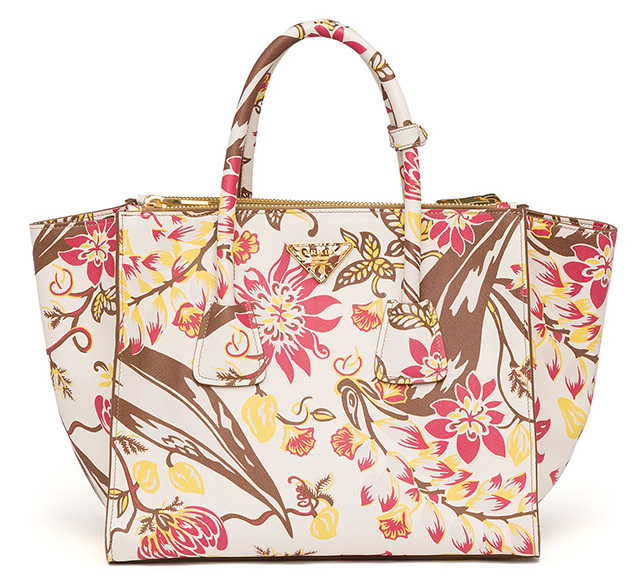 Prada Floral Print Twin Pocket Tote