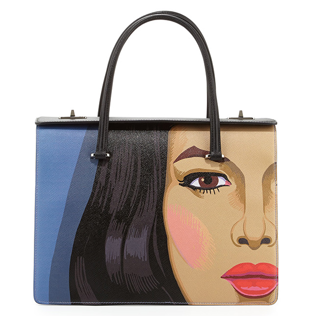 Prada Saffiano Girl Print Bag Blue