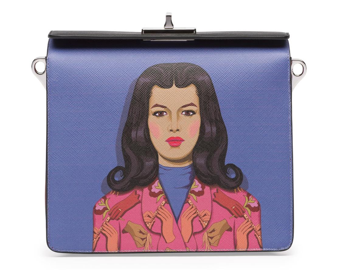 Prada Saffiano Print Shoulder Bag Blue