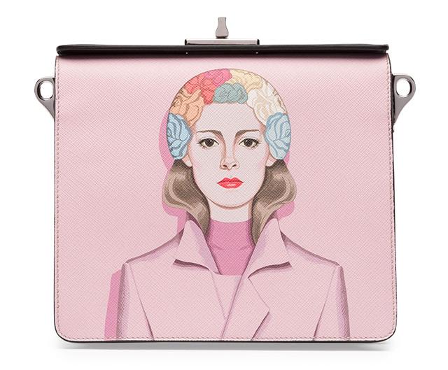 Prada Saffiano Print Shoulder Bag Pink