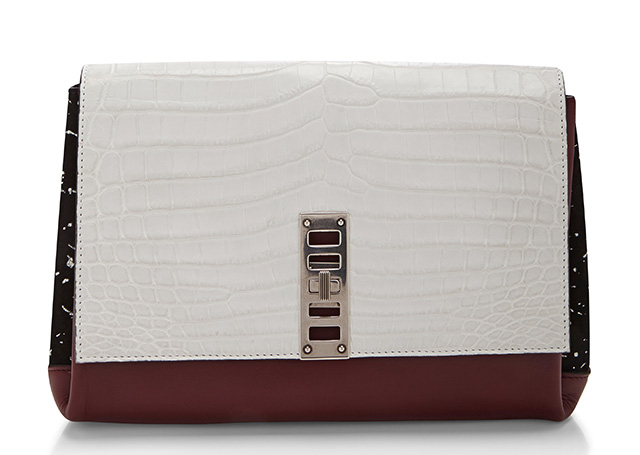 Proenza Schouler PS Elliot Clutch White Croc