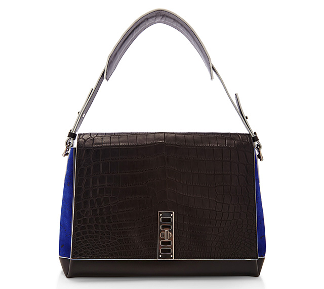 Proenza Schouler PS Elliot Shoulder Bag Black Croc