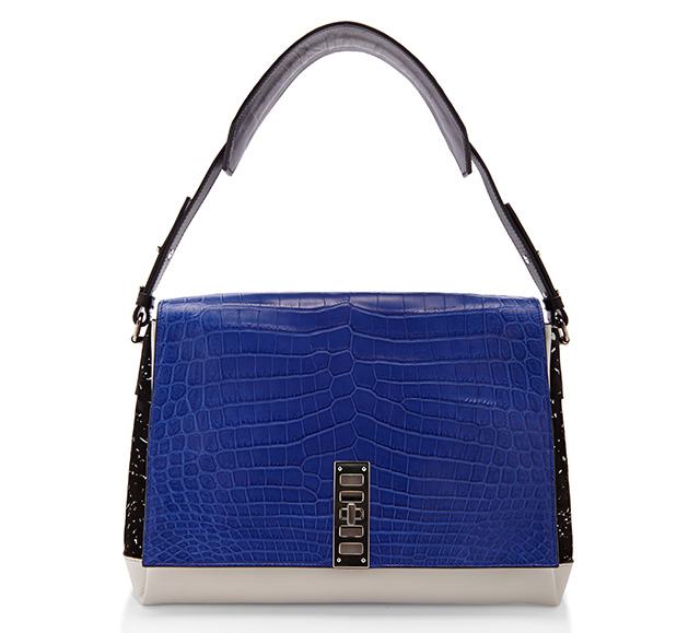 Proenza Schouler PS Elliot Shoulder Bag Blue Croc