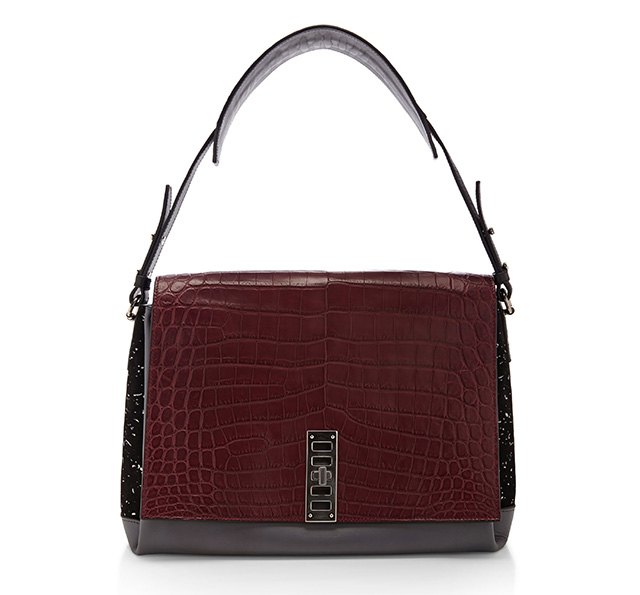 Proenza Schouler PS Elliot Shoulder Bag Burgundy Croc
