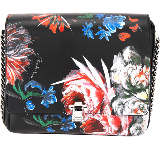 Roberto Cavalli Floral Painted Shoulder Bag