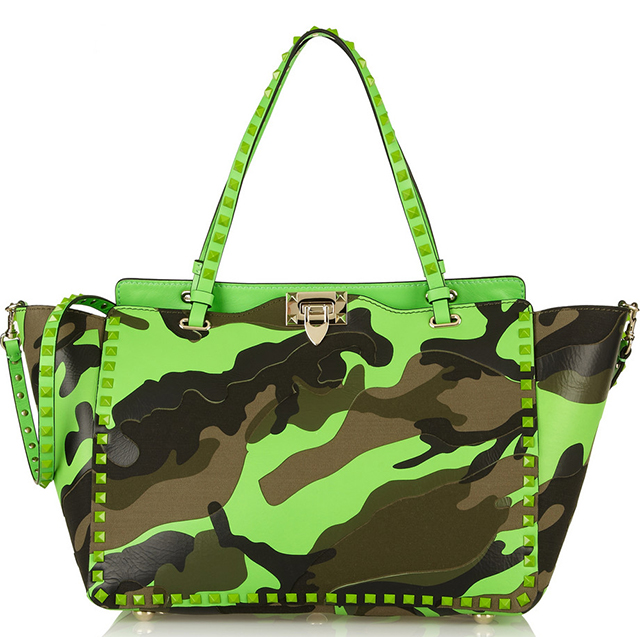 Valentino Rockstud Neon Camouflage Trapeze TOte
