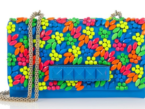 Valentino VaVaVoom Neon Crystal Shoulder Bag