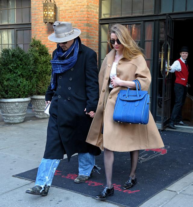 Amber Heard Alexander McQueen Heroine Python Tote-3