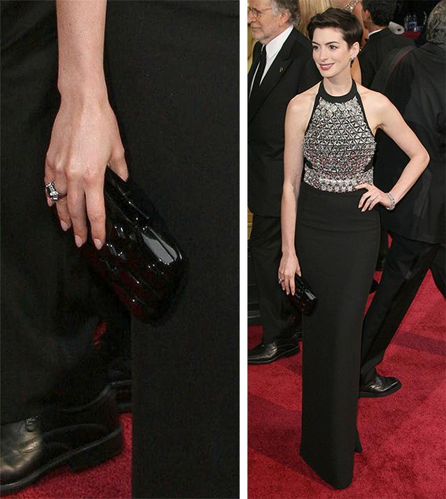 Anne Hathaway Gucci Aristographic Plexiglass Clutch