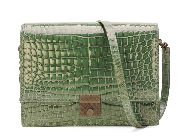 Bottega Veneta Crocodile Top Flap Accordian Shoulder Bag
