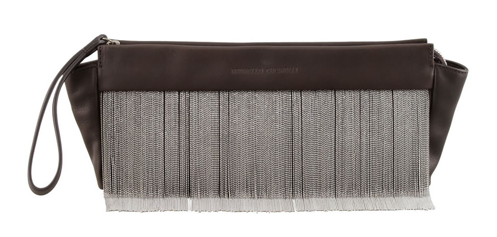 Brunello Cucinelli Beaded Fringe Wristlet Clutch Bag